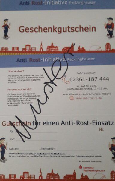 Auf dem Foto ist der Gutschein zu sehen, den Anti-Rost als Geschenk verkauft, oder für Menschen einsetzt, die nicht die finanziellen Mittel haben, 5 Euro Aufwandsentschädigung zu zahlen.